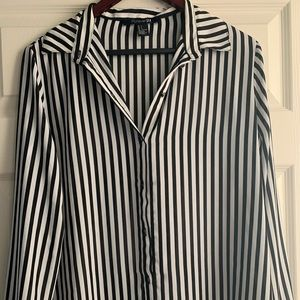 Chic black & white striped button up blouse